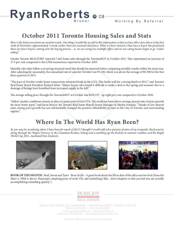 Ryan Roberts November 2011 Toronto Real Estate Newsletter