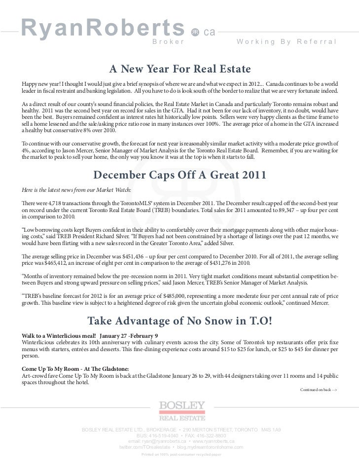Ryan roberts real estate broker january 2012 newsletter