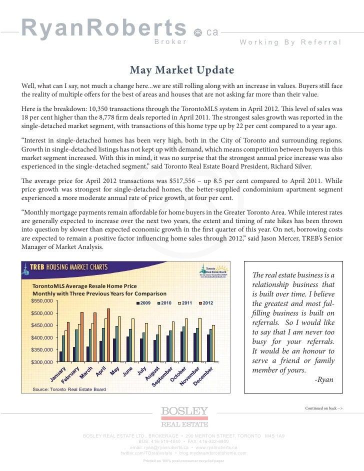 Ryan roberts toronto real estate broker may 2012 newsletter