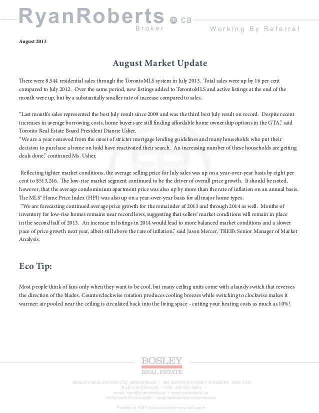 Ryan roberts toronto real estate broker newsletter August 2013
