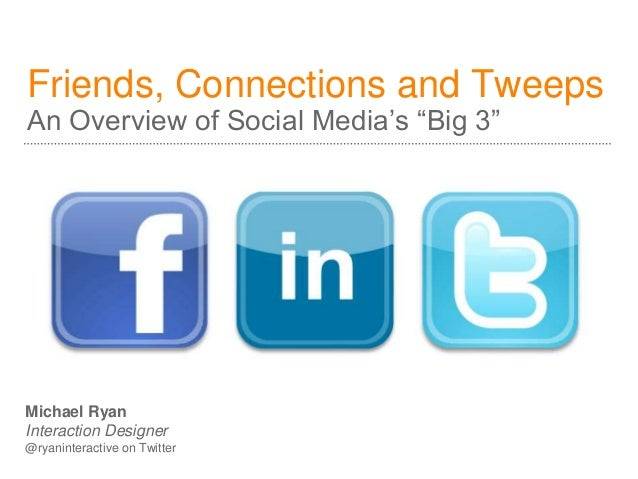 """Friends, Connections and Tweeps An Overview of Social Media's """"Big 3"""" Michael Ryan Interaction Designer @ryaninteractive o..."""