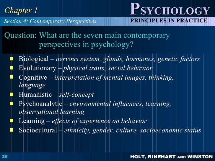 different perspectives of psychology There are various different approaches in contemporary psychology an approach is a perspective (ie view) that involves certain assumptions.