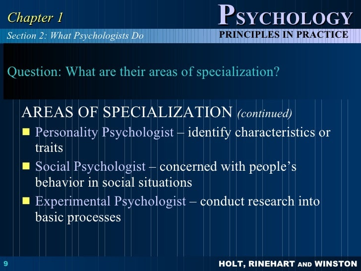 areas of specialization in psychology The psychology major provides its students with both a liberal arts education and the opportunity to explore specific areas of psychology where they have special interests.