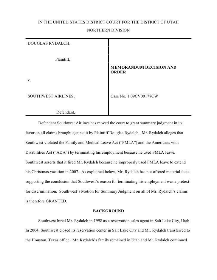 Rydalch v. southwest airlines opinion