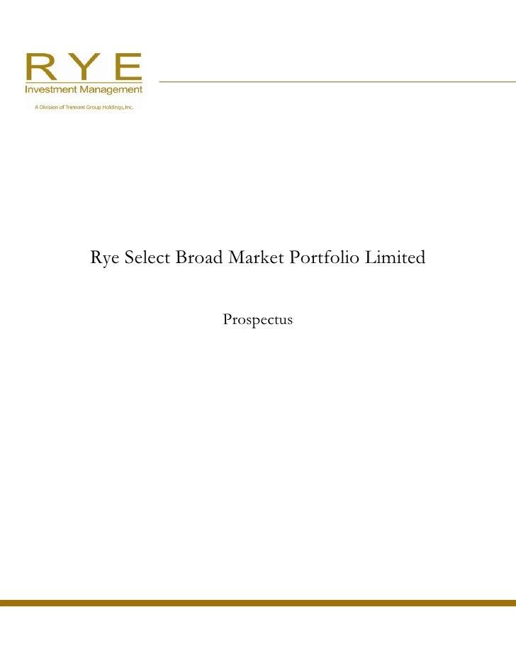 Rye Select Broad Market Portfolio Limited                   Prospectus
