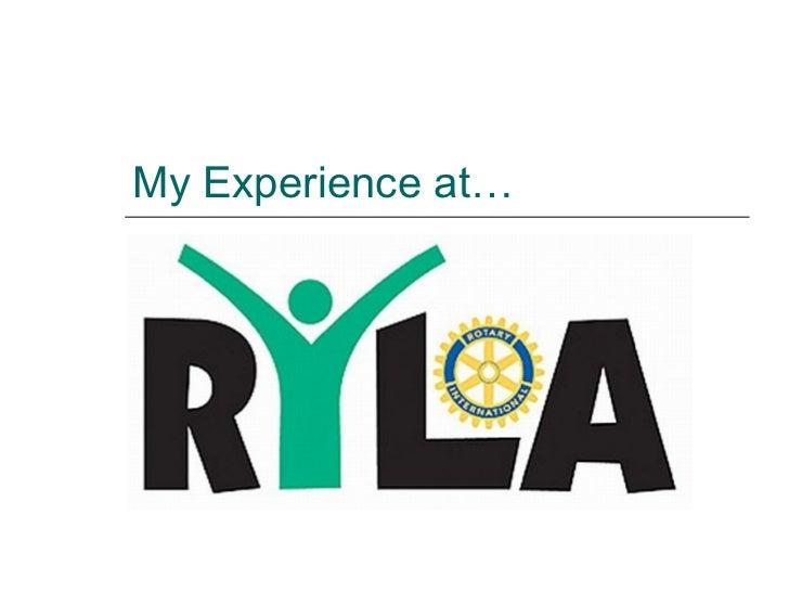 RYLA presentation