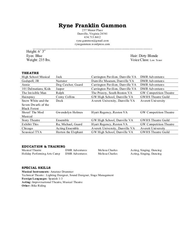 Musical theatre resume