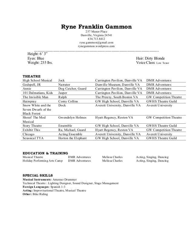 theatre resume rgammon