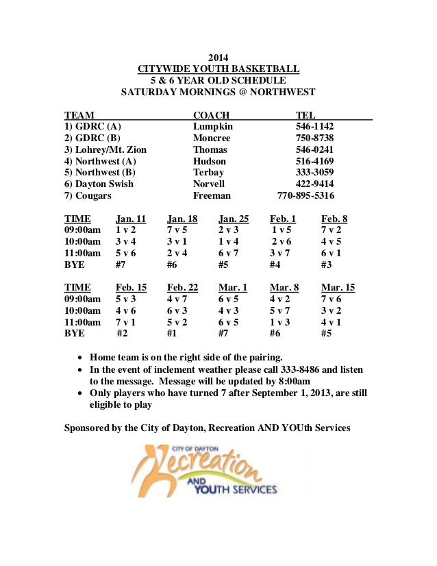 2014 CITYWIDE YOUTH BASKETBALL 5 & 6 YEAR OLD SCHEDULE SATURDAY MORNINGS @ NORTHWEST TEAM 1) GDRC (A) 2) GDRC (B) 3) Lohre...