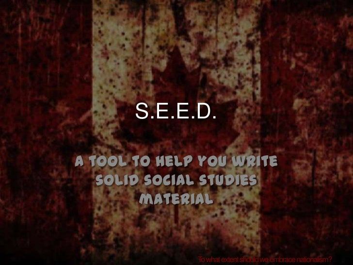 SEED Tool for Social studies writing