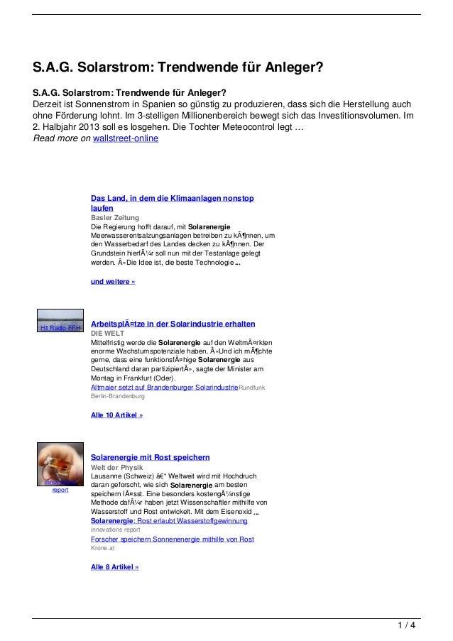 S.A.G. Solarstrom: Trendwende für Anleger?S.A.G. Solarstrom: Trendwende für Anleger?Derzeit ist Sonnenstrom in Spanien so ...