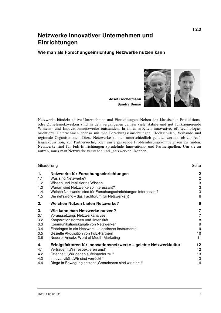 S. Bense, J. Gochermann: Netzwerke innovativer Unternehmen und Einrichtungen