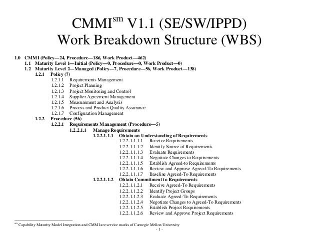 sm                            CMMI V1.1 (SE/SW/IPPD)                           Work Breakdown Structure (WBS)1.0 CMMI (Pol...