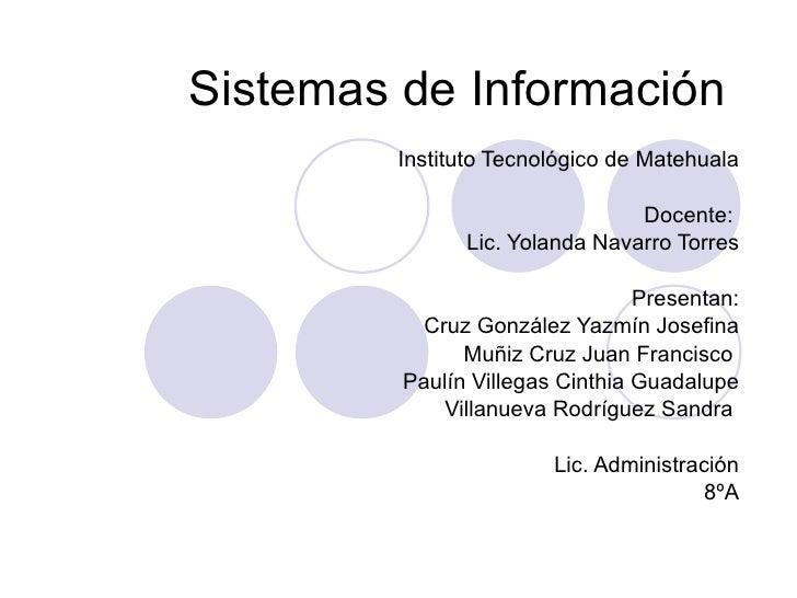 Sistemas de Información Instituto Tecnológico de Matehuala Docente:  Lic. Yolanda Navarro Torres Presentan: Cruz González ...