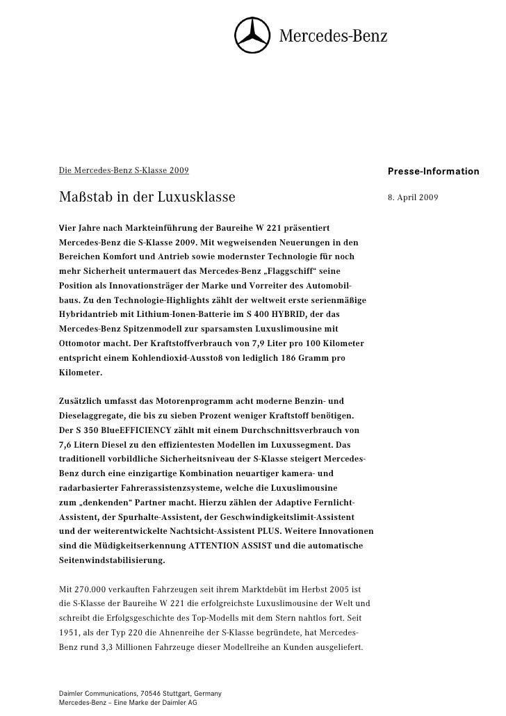 Die Mercedes-Benz S-Klasse 2009                                                   Seite 1                                 ...