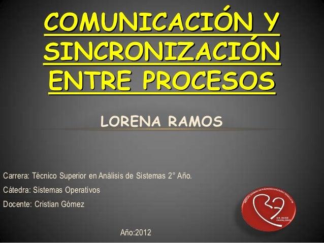 COMUNICACIÓN Y           SINCRONIZACIÓN           ENTRE PROCESOS                               LORENA RAMOSCarrera: Técnic...