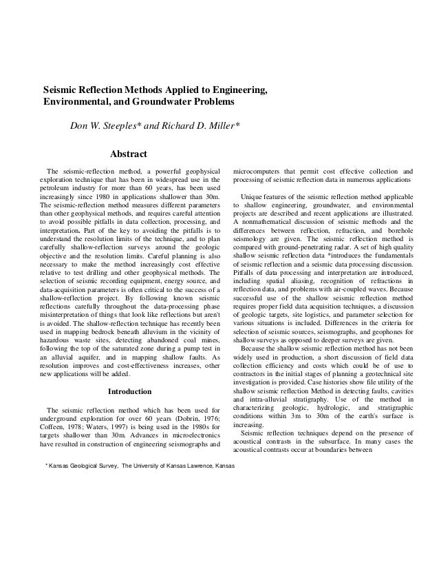 Seismic Reflection for Engineering Problems