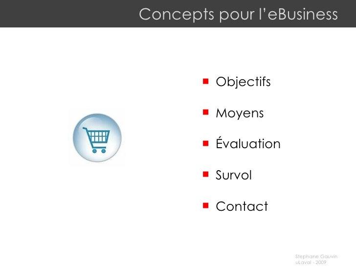 Concepts pour l'eBusiness <ul><li>Objectifs </li></ul><ul><li>Moyens </li></ul><ul><li>Évaluation </li></ul><ul><li>Survol...