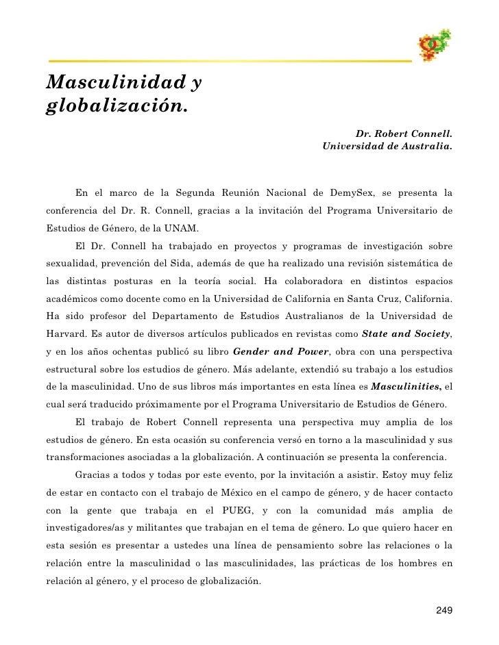 Masculinidad y globalización.                                                                    Dr. Robert Connell.      ...