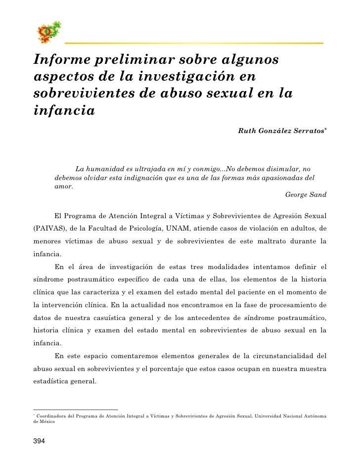 Informe preliminar sobre algunos aspectos de la investigación en sobrevivientes de abuso sexual en la infancia            ...