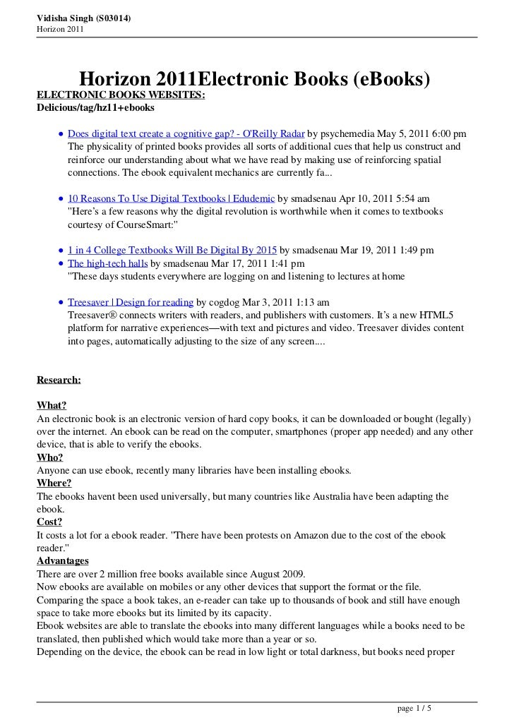 Vidisha Singh (S03014)Horizon 2011          Horizon 2011Electronic Books (eBooks)ELECTRONIC BOOKS WEBSITES:Delicious/tag/h...