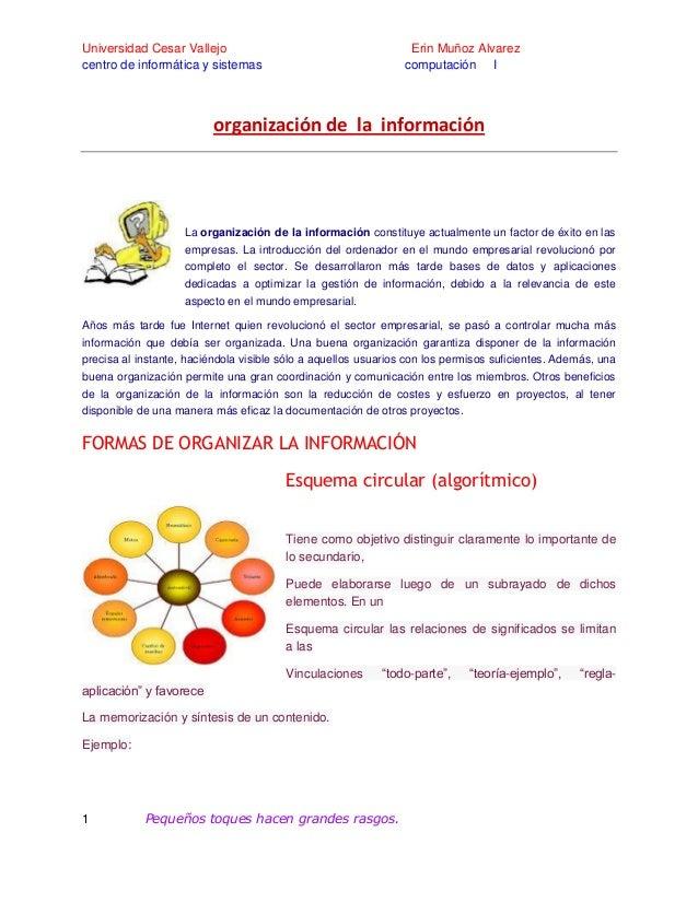Universidad Cesar Vallejo centro de informática y sistemas  Erin Muñoz Alvarez computación I  organización de la informaci...