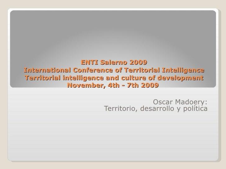 Territory, development and politics (Oscar MADOERY)