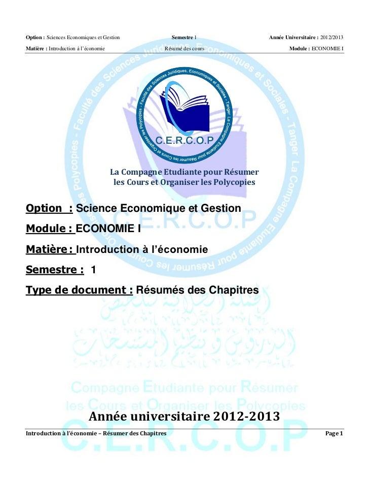 Option : Sciences Economiques et Gestion             Semestre 1                Année Universitaire : 2012/2013Matière : In...