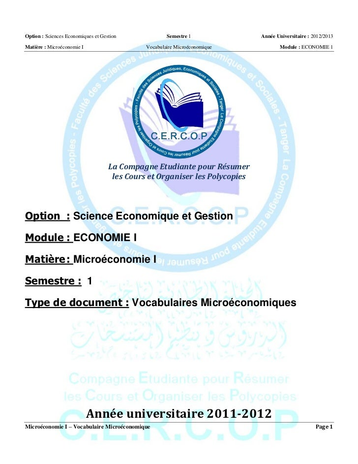 Option : Sciences Economiques et Gestion              Semestre 1             Année Universitaire : 2012/2013Matière : Micr...