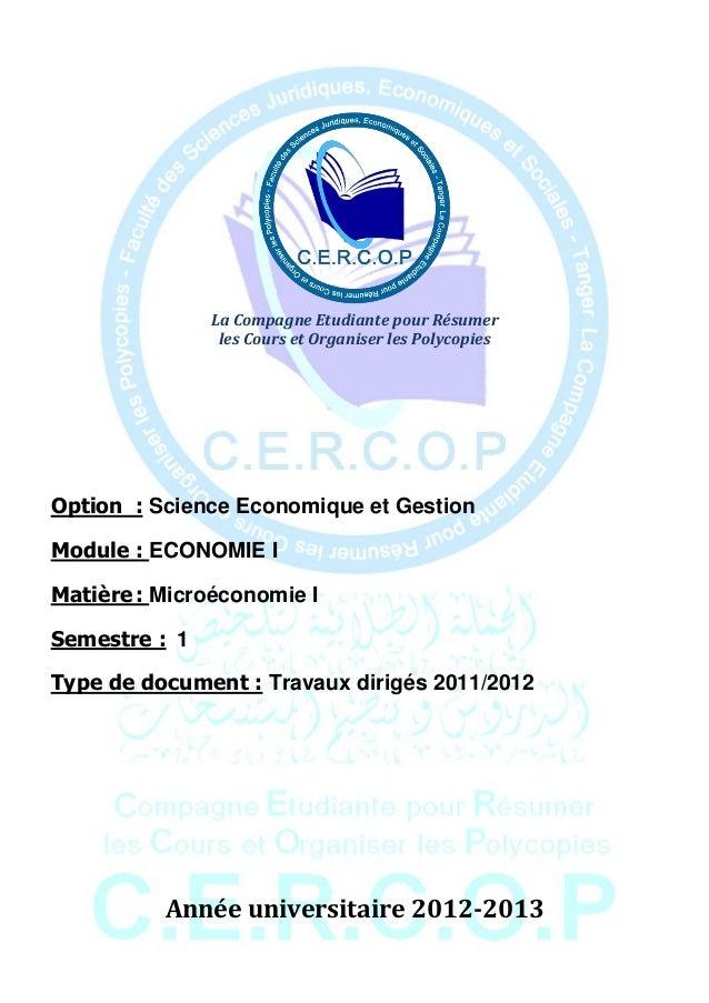 La Compagne Etudiante pour Résumer                les Cours et Organiser les PolycopiesOption : Science Economique et Gest...