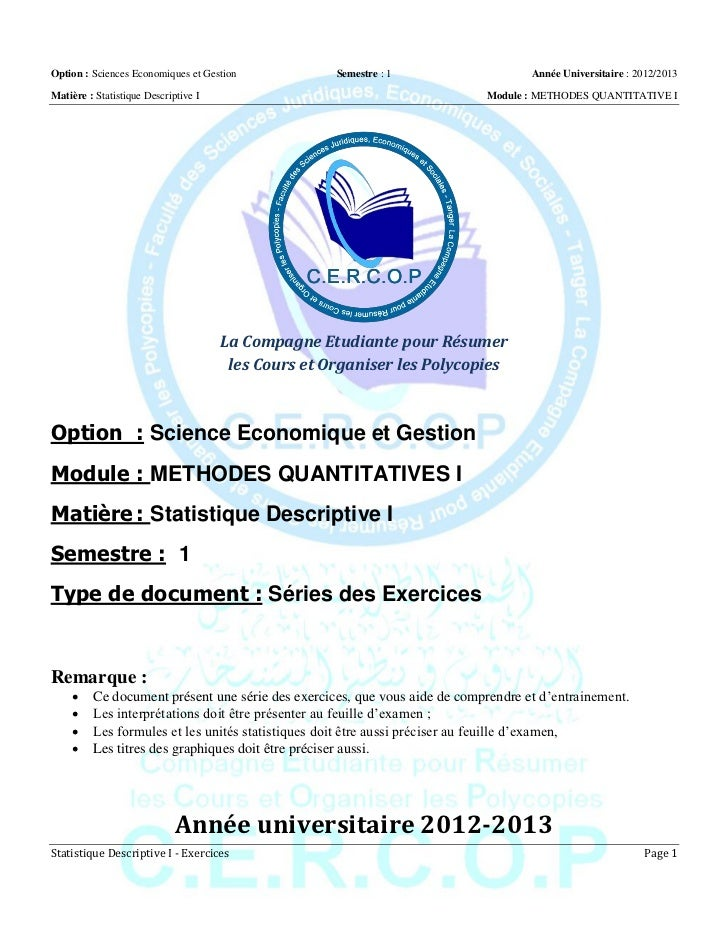 Option : Sciences Economiques et Gestion             Semestre : 1                  Année Universitaire : 2012/2013Matière ...