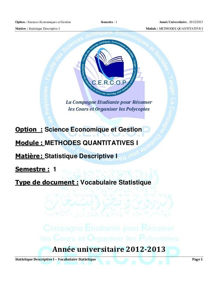 Option : Sciences Economiques et Gestion              Semestre : 1              Année Universitaire : 2012/2013Matière : S...