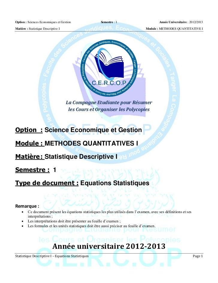 Option : Sciences Economiques et Gestion                Semestre : 1                          Année Universitaire : 2012/2...