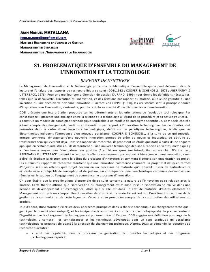 Problématique densemble du Management de linnovation et la technologieJUAN MANUEL MATALLANAjean.m.matallana@gmail.comMASTE...