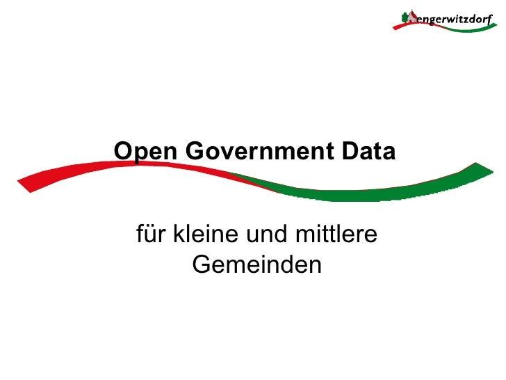 Open Government Data für kleine und mittlere       Gemeinden