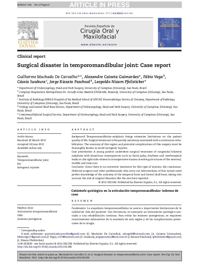 Surgical disaster in temporomandibular joint: Case report
