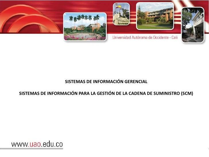 SISTEMAS DE INFORMACIÓN GERENCIALSISTEMAS DE INFORMACIÓN PARA LA GESTIÓN DE LA CADENA DE SUMINISTRO (SCM)