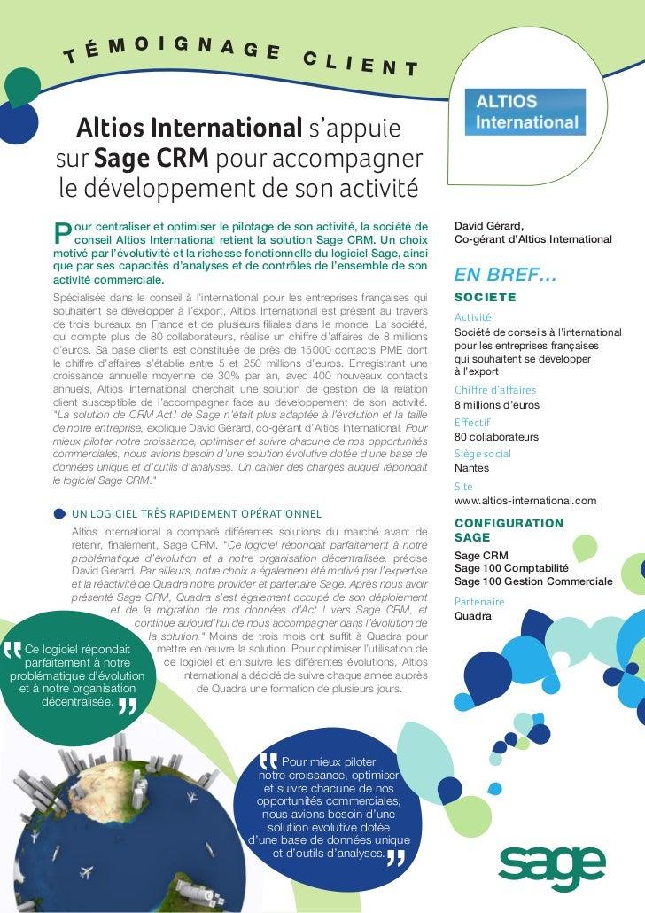 Altios International s'appuie sur Sage CRM pour accompagner le développement de son activité