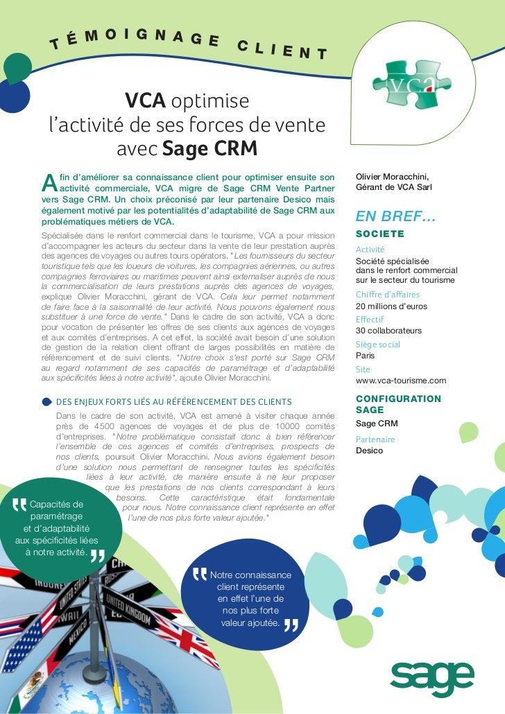 VCA optimise l'activité de ses forces de vente avec Sage CRM