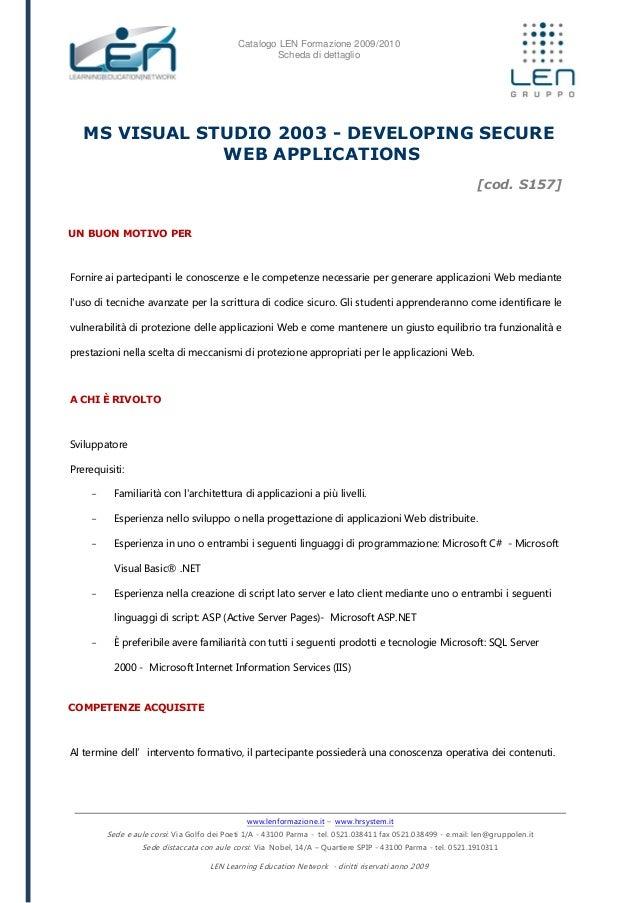 MS VISUAL STUDIO 2003 - Developing secure web applications - Schedea corso LEN