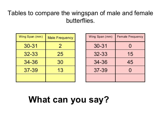 Tables to compare the wingspan of male and female butterflies. Wing Span (mm)  Male Frequency  Wing Span (mm)  Female Freq...