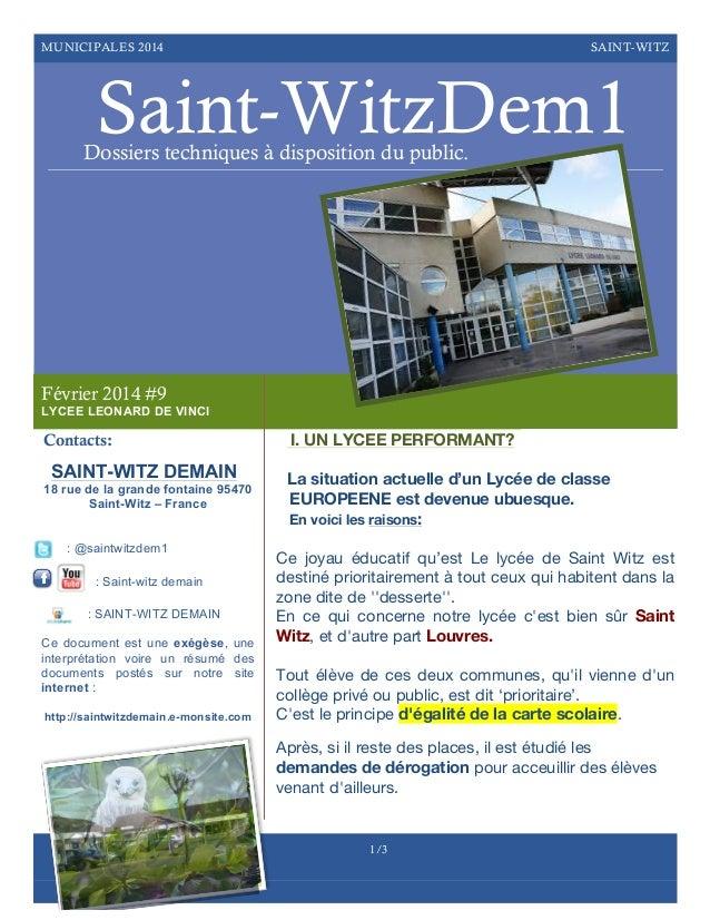 MUNICIPALES 2014  SAINT-WITZ  Saint-WitzDem1  Dossiers techniques à disposition du public.  Février 2014 #9 LYCEE LEONARD ...