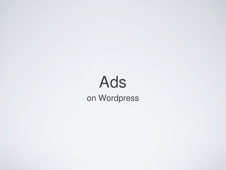 Ads on Wordpress