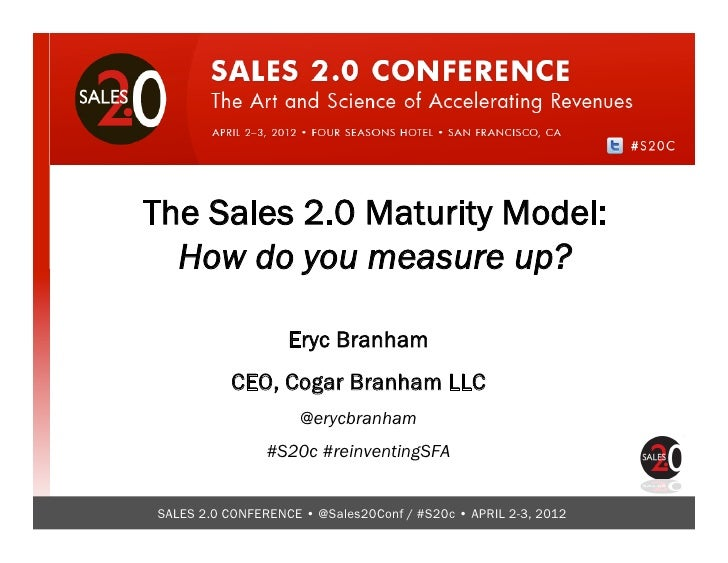 A Sales 2.0 Maturity Model - Sales 2.0 conference keynote by @erycbranham, CEO and Founder of www.cogarbranham.com