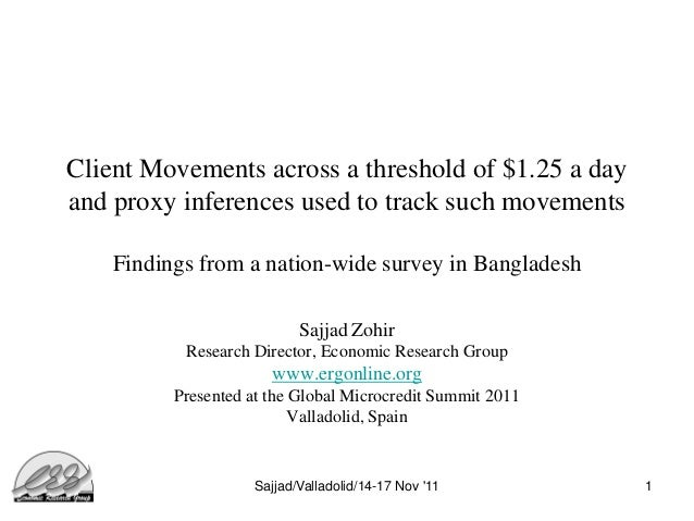 Client Movements across a threshold of $1.25 a dayand proxy inferences used to track such movements    Findings from a nat...