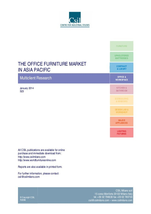 The office furniture market in Asia Pacific - Market Research by CSIL (TOC)