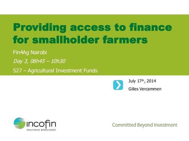 Providing access to finance for smallholder farmers