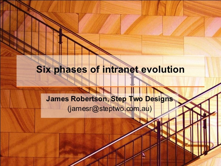 Six phases of intranet evolution James Robertson, Step Two Designs (jamesr@steptwo.com.au)