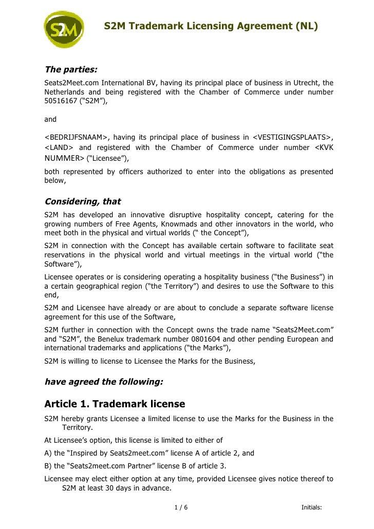 S2M Trademark Licensing Agreement