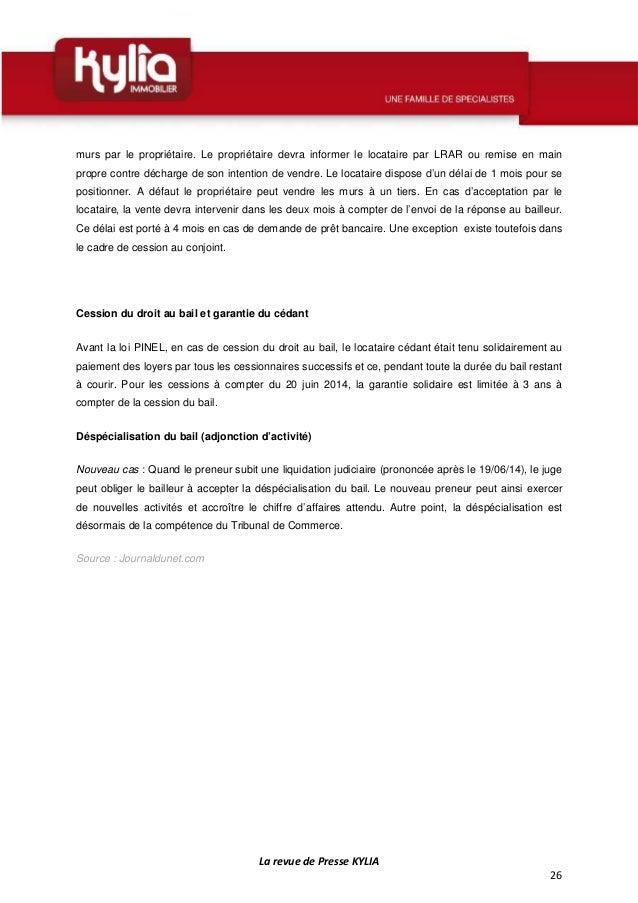 S30 revue de presse kylia semaine du 20 au 26 juillet 2015 - Droit du locataire en cas de vente ...